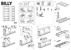 IKEA's instruction manuals are a great example of graphic design that communicates well via graphics and a few numbers. I just built two IKEA pieces this weekend and very much appreciated their instruction manual design! Billy Ikea, Tomie Ohtake, Ikea Billy Bookcase, Barrister Bookcase, Ikea Office, Office Decor, Bookcase Styling, Construction Drawings, Graphic Design Posters