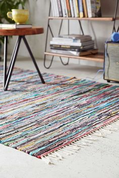 This colorful rug will totally brighten up a small space.