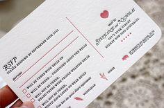 Bespoke Letterpress 2 colour custom designed and letterpress printed wedding reply postcard