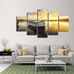 Fishing Boat Multi Panel Canvas Wall Art