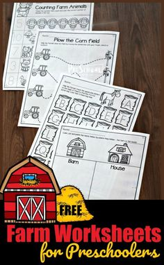 FREE Farm Worksheets for Preschoolers - these super cute, free printable preschool worksheets are a great way to practice counting, letters, colors, and more. Preschool Farm Crafts, Farm Animals Preschool, Farm Activities, Preschool Literacy, Preschool Letters, Preschool Printables, Kindergarten Worksheets, Kindergarten Age, Fall Preschool