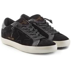Golden Goose Super Star Suede Sneakers (€415) ❤ liked on Polyvore featuring shoes, sneakers, black, lace up shoes, suede sneakers, black lace up sneakers, black suede shoes and star sneakers