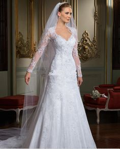 Wholesale Wedding Dress - Buy 2014 Best-selling A-Line Backless Wedding Dresses Long Sleeves V-Neckline Sheath Lace Mermaid Court Train Tulle Appliqued Wedding Gowns, $164.95   DHgate