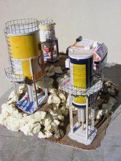 Usine de forage inspiré d une publication de GW, pose de differents boitiers et cablages en fil de scoubidous