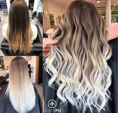 White Ombre Hair, Ombre Hair Color, Hair Color Balayage, Blonde Balayage, Dyed Hair Ombre, Hair Colors, Blonde Hair Looks, Brown Blonde Hair, Blonde Brunette