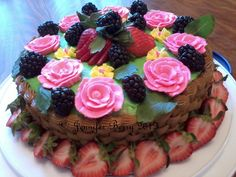 Fresh Fruit and Basketweave Cake / Mother's Day 2012