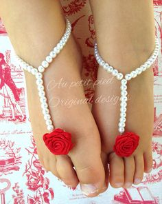 Baby barefoot sandals, Red flower, toddler barefoot sandals , baptism , christening gift, baby shoes, girls, flower girl, newborn photo prop on Etsy, $17.95