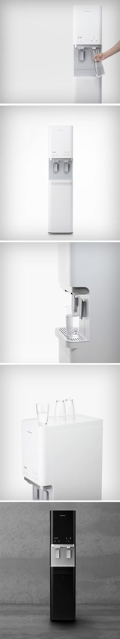 Dae-hoo Kim has redesigned the water purifier called the CHPI-620. This device not only purifies water but also produces ice. This is a combined water purifier + ice maker that can be installed in homes and businesses to purify tap water of contaminants such as fine particles, rust residue, heavy metals, and chlorine using multiple filters and provide its users with clean drinking water and ice.