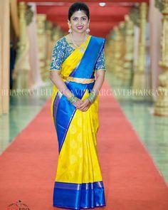 Blue Silk Saree, Bridal Silk Saree, Yellow Saree, Silk Sarees, Pattu Saree Blouse Designs, Bridal Blouse Designs, South Indian Bride Saree, Indian Sarees, Saree Color Combinations