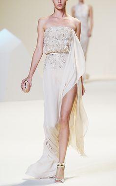 Shop Elie Saab Vanilla Strapless Silk Georgette Embroidered Dress at Moda Operandi
