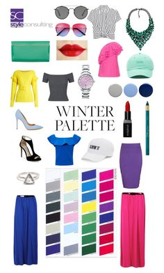 A fashion look from June 2017 featuring frilled top, short-sleeve button-down shirts and pink lace top. Browse and shop related looks. Deep Winter Palette, Cool Winter Color Palette, Deep Winter Colors, Bright Winter Outfits, Color Type, Winter Basics, Winter Typ, Clear Winter, Seasonal Color Analysis