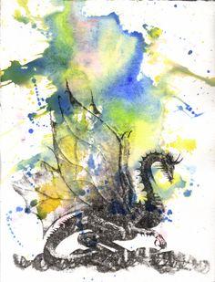 Mythical Dragon Art Print From Original Watercolor by idillard