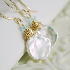White Keshi Pearl Earrings Genuine Blue Topaz by livjewellery
