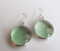 Light Green Stained Glass Earrings Drops Spring by veryprettything