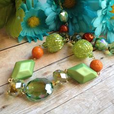 Green Necklace Green Glass Beaded Necklace by SundanceMountains