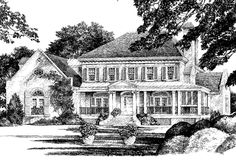 Front Elevation - Southern Living  - Abberley Lane Plan SL-683 - Country, Southern, New England, Colonial 3845 sq ft, 4bd, 6 possible bd, 4ba, 1 half ba,