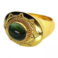 Damaskos Broad Face Green Tourmaline Ring, 18k Gold and a Tourmaline. This and more handmade Greek jewelry at Athena's Treasures: www.athenas-treasures.com