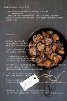 Stir fried Siracha mushrooms