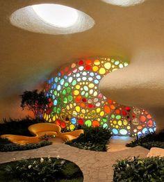 Organic Architecture, Interior Architecture, Water Architecture, Colour Architecture, Classical Architecture, Earthship Home, Earthship Design, Retro Interior Design, Shell House