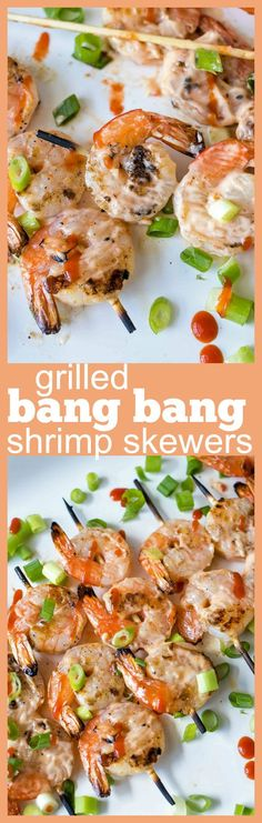 Grilled Bang Bang Shrimp Skewers – Grilled shrimp skewers covered in a spicy, creamy, sweet chili sauce. Perfect for the summer barbecues! Grilling Recipes, Fish Recipes, Seafood Recipes, Appetizer Recipes, Vegetarian Recipes, Dinner Recipes, Cooking Recipes, Healthy Recipes, Appetizers