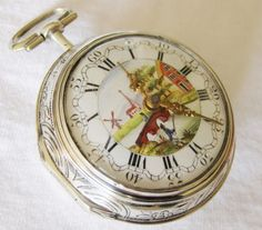 Pocket watch Verge Fusee silver pair case repousse, Painted Dial, Samson London   eBay