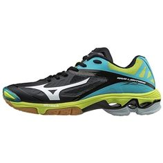 The Mizuno Wave Lightning Womens Volleyball Shoe includes the Extra Grade (XG) Rubber for deep traction and increased lateral movements. Volleyball Gear, Women Volleyball, Volleyball Accessories, Cleats, Lightning, Me Too Shoes, Black Shoes, Waves, Footwear