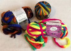 3 Skeins of Ribbon Yarn Lion Brand Yarn Bee Red Heart New w/ Labels #LionBrand #Ribbon