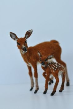 Needle Felted Animals Motherdeer and a by darialvovsky on Etsy