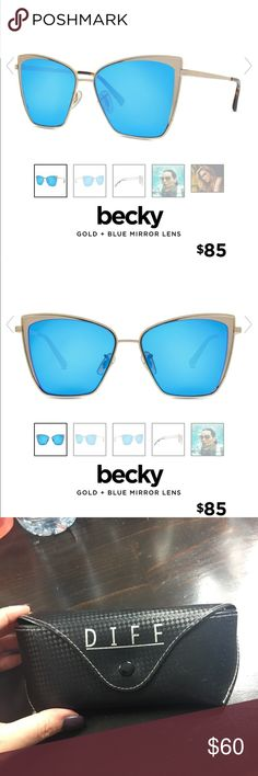 Diffy Eyewear Sunglasses Becky Frame Diffy Eyewear Sunglasses. Gold + blue mirror lenses. In perfect condition ! Diff Eyewear Accessories Sunglasses