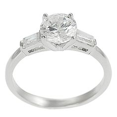 Journee Collection tone Baguette- Round CZ Bridal Engagement Ring
