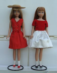 Skipper - This was my Skipper doll! She came with a blue & white striped bathing suit, that had an anchor on it, & her legs could bend. She also had the outfit on the right.