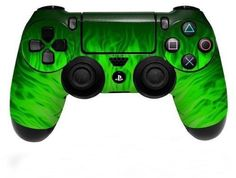 Plastation 4 PS4 Controller Skin Vinyl Decal Skin Green Fire