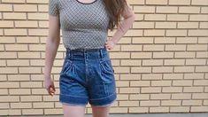 Vintage High Rise Shorts / Denim Shorts / Pleated Shorts / Shorts / Denim Pleated Shorts / Size 26 by itsMagari on Etsy 90s Shorts, Denim Shorts, Pleated Shorts, High Waisted Shorts, Vintage Wear, Vintage Outfits, High Rise Shorts, Tweed Jacket, White Tees