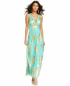 Too summery for wed? Xscape Dress, Sleeveless Metallic Floral Print Pleated Gown