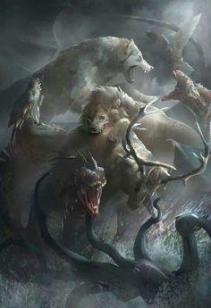 Game of thrones Dragon, Lion & Direwolf Fantasy