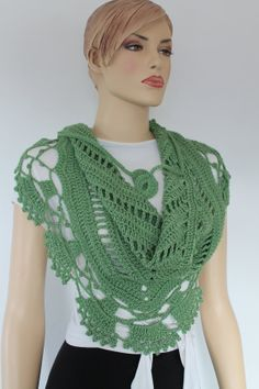 Green Triangle Crochet Scarf Shawl  Chunky Cowl   Neck by lucylev, $75.00