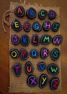 Colorful and Artsy Ideas for Painted Pebble and River Stone Crafts - Artsy Col .Colorful and Artsy Ideas for Painted Pebble and River Stone Crafts - Artsy Colorful Crafts Ideas painted The big fingerprint ABC Pebble Painting, Pebble Art, Stone Painting, Rock Painting, Stone Crafts, Rock Crafts, Arts And Crafts, Story Stones, Simple Lettering