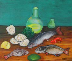 Vis en schaaldieren - schilderij (stilleven) van Vlaams impressionistisch schilder Betty Bouckaert