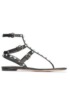 Valentino - Rockstud Leather Sandals - Black - IT37.5