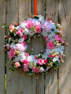 Pink and White Floral Wreath, Wreath for Front Door, Floral Arrangement, Mother's Day Gift, Pink Baby Shower Decoration, Wedding Wreath Etsy Handmade, Handmade Gifts, Wedding Wreaths, Farmhouse Christmas Decor, Etsy Crafts, Wreaths For Front Door, Diy Kits, White Roses, Baby Shower Decorations