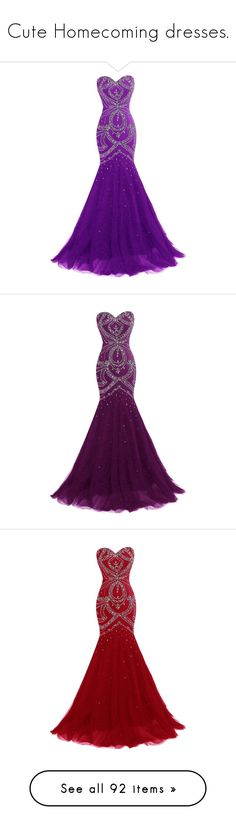 """""""Cute Homecoming dresses."""" by crazygirlandproud ❤ liked on Polyvore featuring dresses, gowns, long dress, purple, beaded gown, purple corset, prom gowns, long beaded gown, purple evening gowns and long prom dresses"""