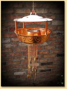 Upcycled, Recycled Copper Bundt Mold and Porcelain Enamel Pot Lid Chained Bird Feeder