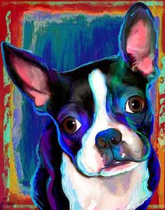 We printed this adorable Boston Terrier today. We have been swamped with commissions this last week. We have also had a large number of Boston Terrier orders for some odd reason. This month we will do a total of 5 Bostons. Boston Terrier Kunst, Boston Terrier Love, Boston Terriers, Terrier Puppies, Terrier Mix, Pugs, Boston Art, Dog Paintings, Dog Portraits