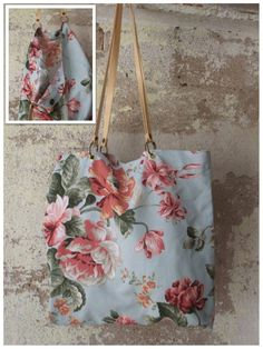Bolso para colgar al hombro de tela de tapicería de flores