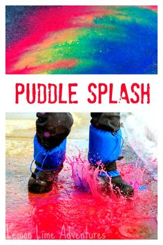 Sidewalk Chalk Art in Puddles