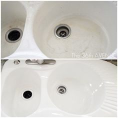 Whiten your stained porcelain sink with dishwasher detergent and a sponge.