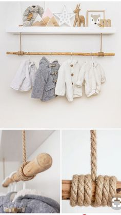 Shelf clothes rail for baby things in the nursery Just Like .- Regal Kleiderstange für Babysachen im Kinderzimmer Just Like Hannah Regal clothes rail for baby things in the nursery Just Like Hannah – – - Baby Bedroom, Baby Boy Rooms, Baby Room Decor, Nursery Room, Girl Nursery, Girl Room, Kids Bedroom, Room Baby, Nursery Decals