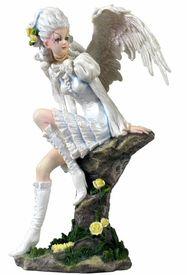 Fairy in White Dress on Rock Fantasy Sculpture