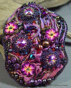 Blushing Garden of Lavender Bead Embroidered Shibori by 4uidzne, $115.00