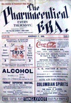 1898 Coca-Cola ad in the weekly newspaper focused on pharmaceutics Coca Cola Syrup, Coca Cola Ad, Pepsi, Coke, Coca Cola Vintage, Vintage Ads, Ideal Brain, Coca Cola History, Weekly Newspaper